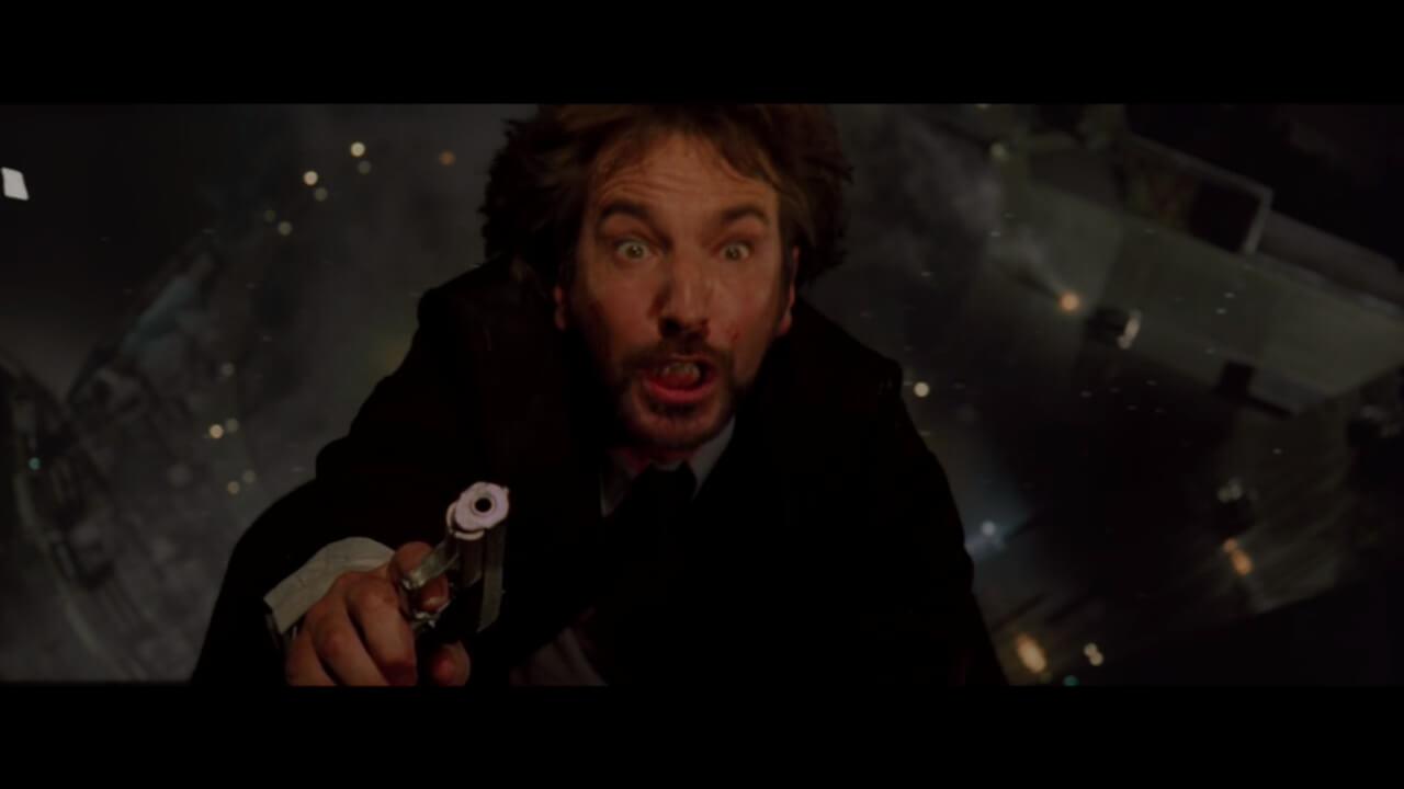 『ダイハード』にて宿敵・ハンスを演じるアラン・リックマン。