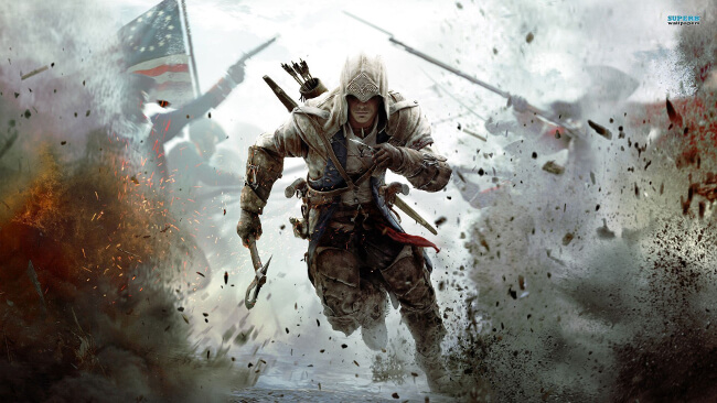 『アサシンクリード3』のボックスアート。爆撃の中を主人公コナーが爆走する象徴的なイメージ画像。