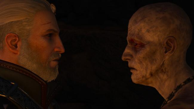 老齢の吸血鬼と対面するゲラルト。