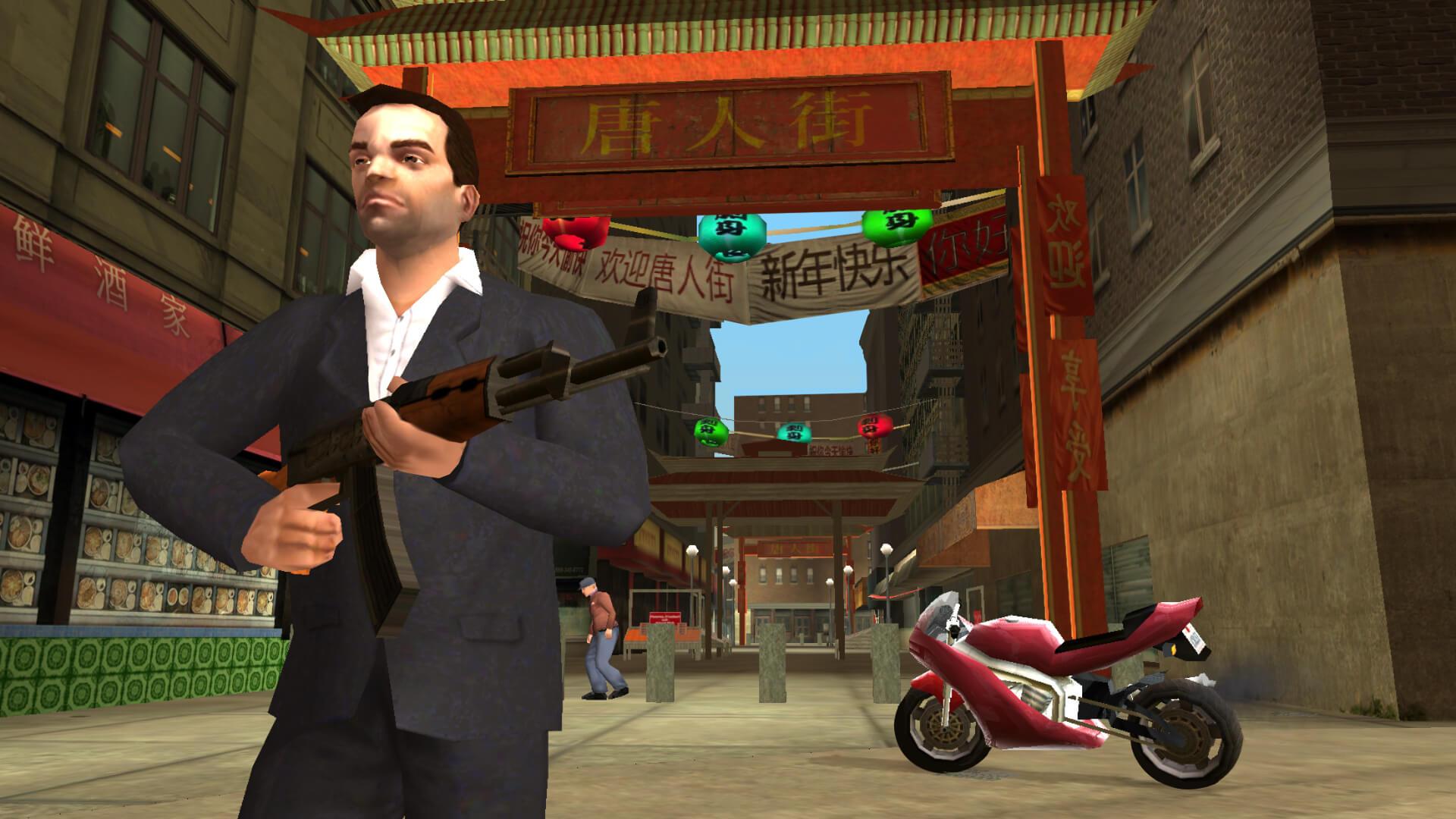 銃を手に中華街を闊歩するトニー。『グランド・セフト・オート・リバティーシティ・ストーリーズ』より。