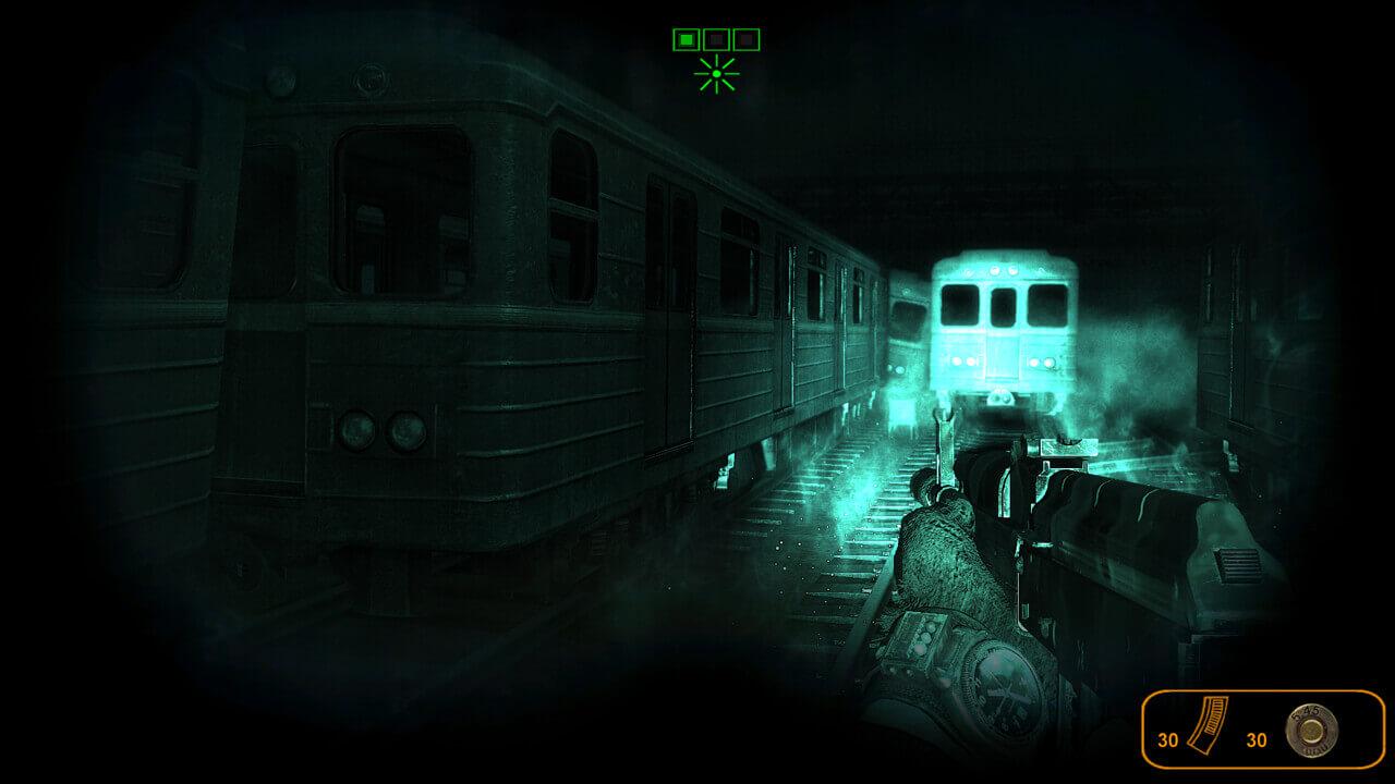 懐中電灯を頼りに地下鉄線を探索。ここにもミュータントがいる。