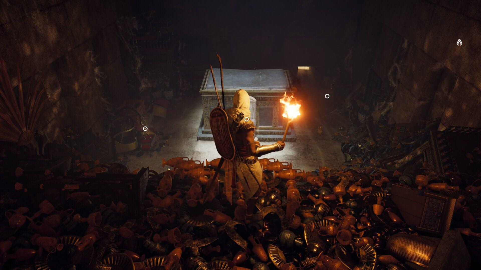 ピラミッド内部には金銀財宝が山ほどある。『 Assassin's Creed Origins』より。
