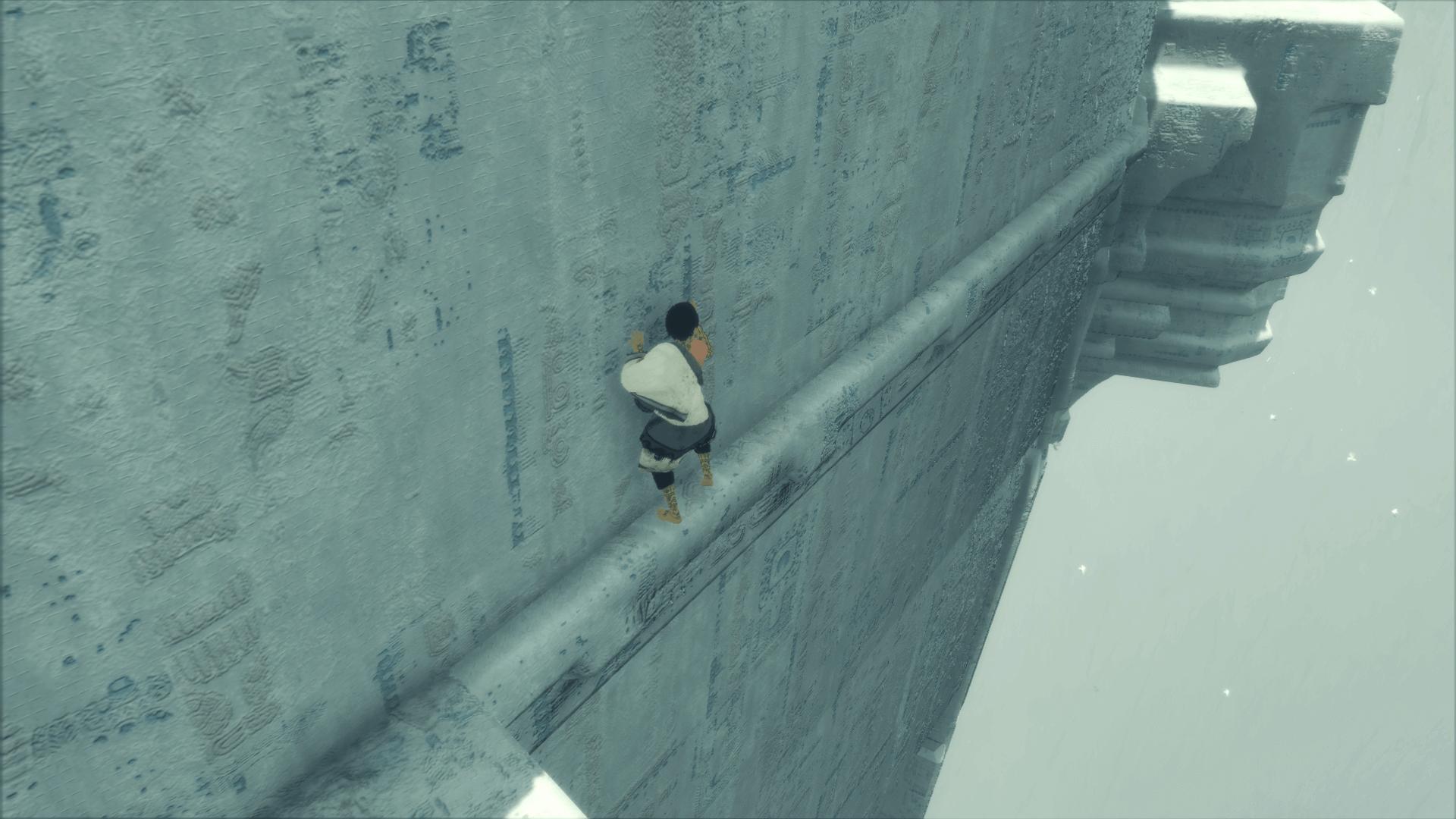 絶壁を移動する少年。