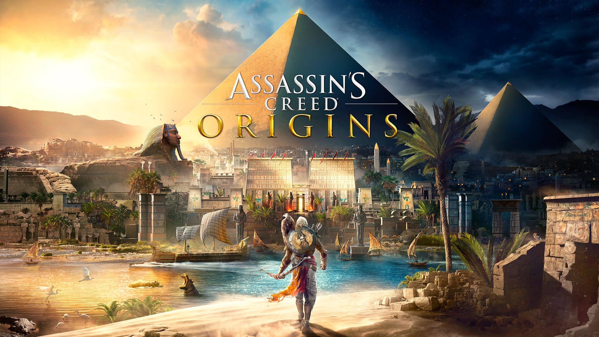 『アサシンクリード オリジンズ』のボックスアート。遠くには大ピラミッドがそびえ立つ。