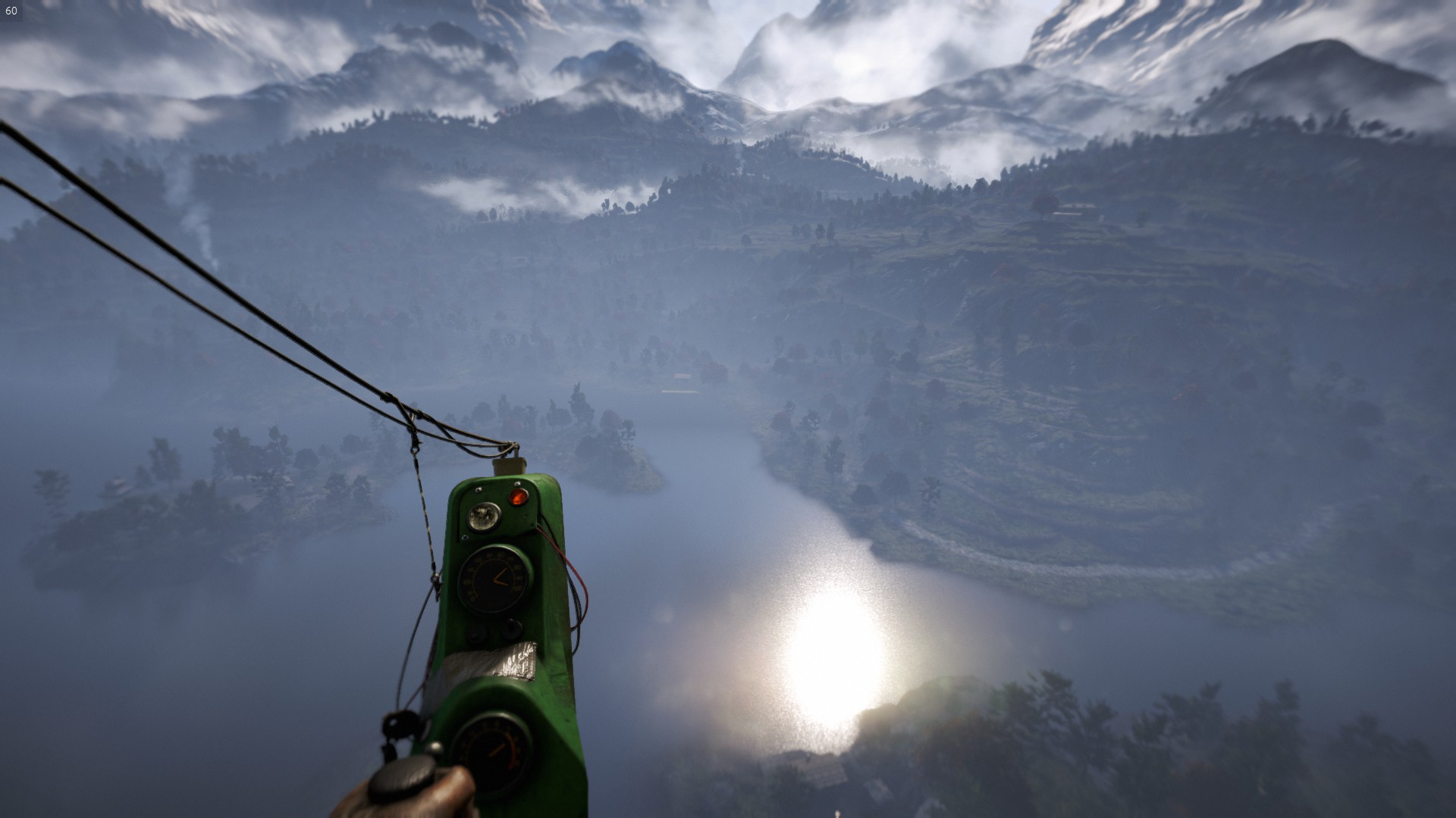 小型ヘリによる上空からの景色。