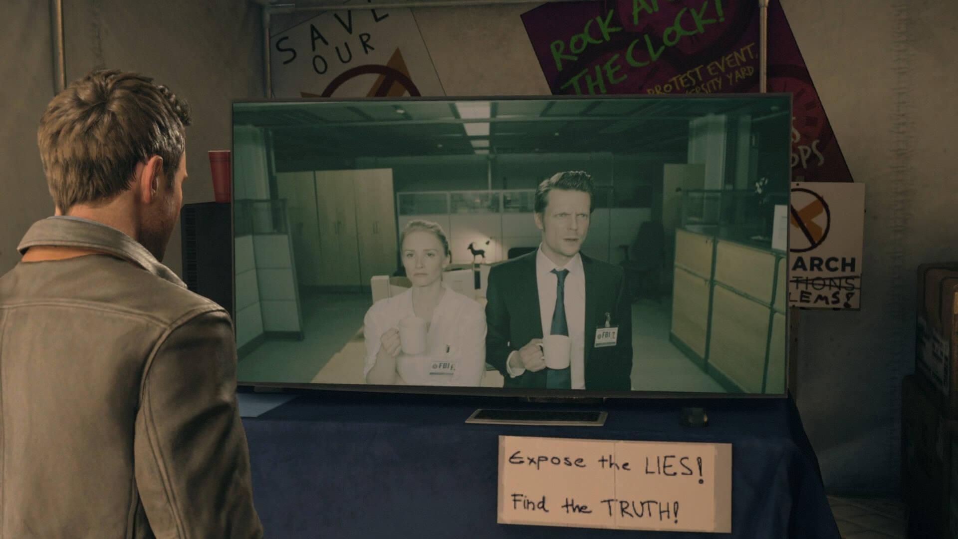 ゲーム内TV。Remedyお得意の独占な世界の構築に一役買っている。