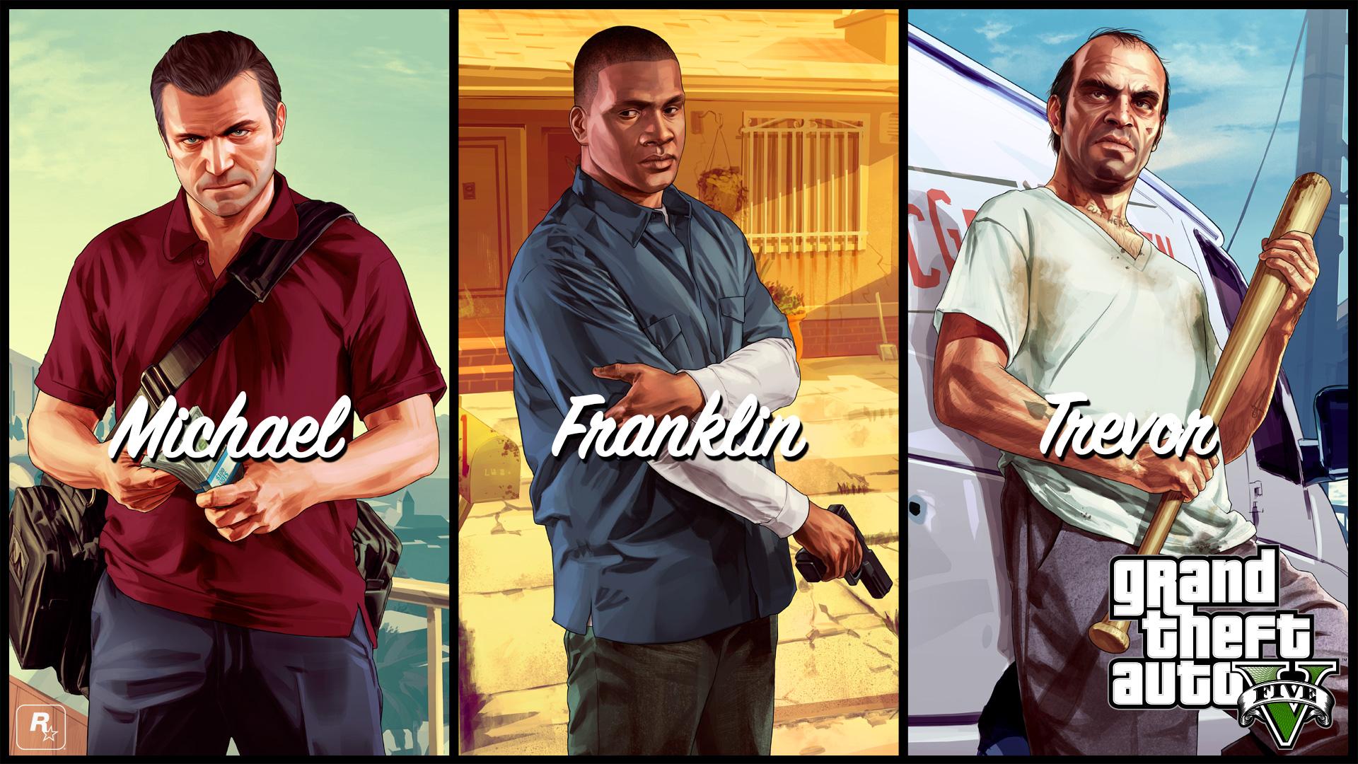 3人の主人公。左からマイケル、フランクリン、トレバー。