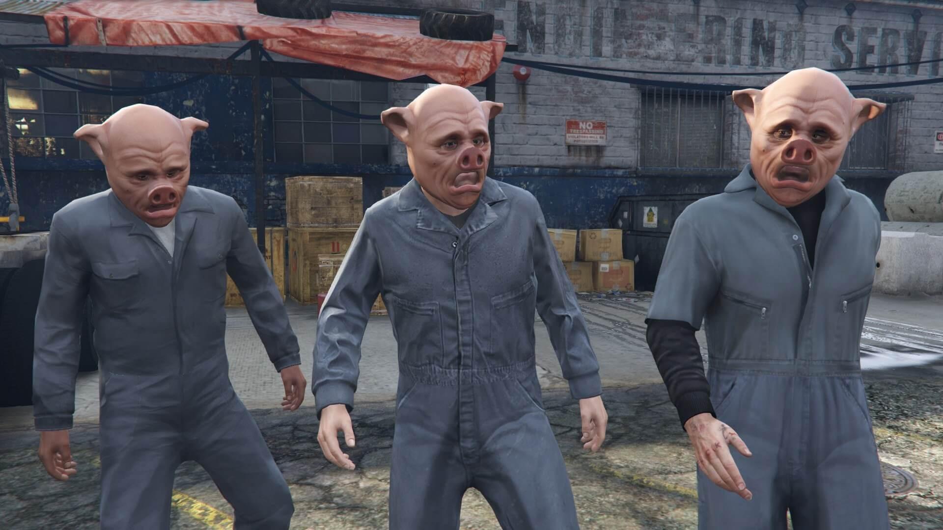変装したマイケル、フランクリン、トレバー。一緒に強盗?