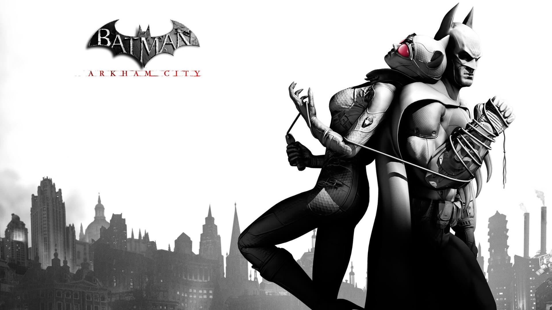 『バットマン アーカム・シティ』の壁紙。バットマンとワイヤーで繋がれたキャットウーマン。