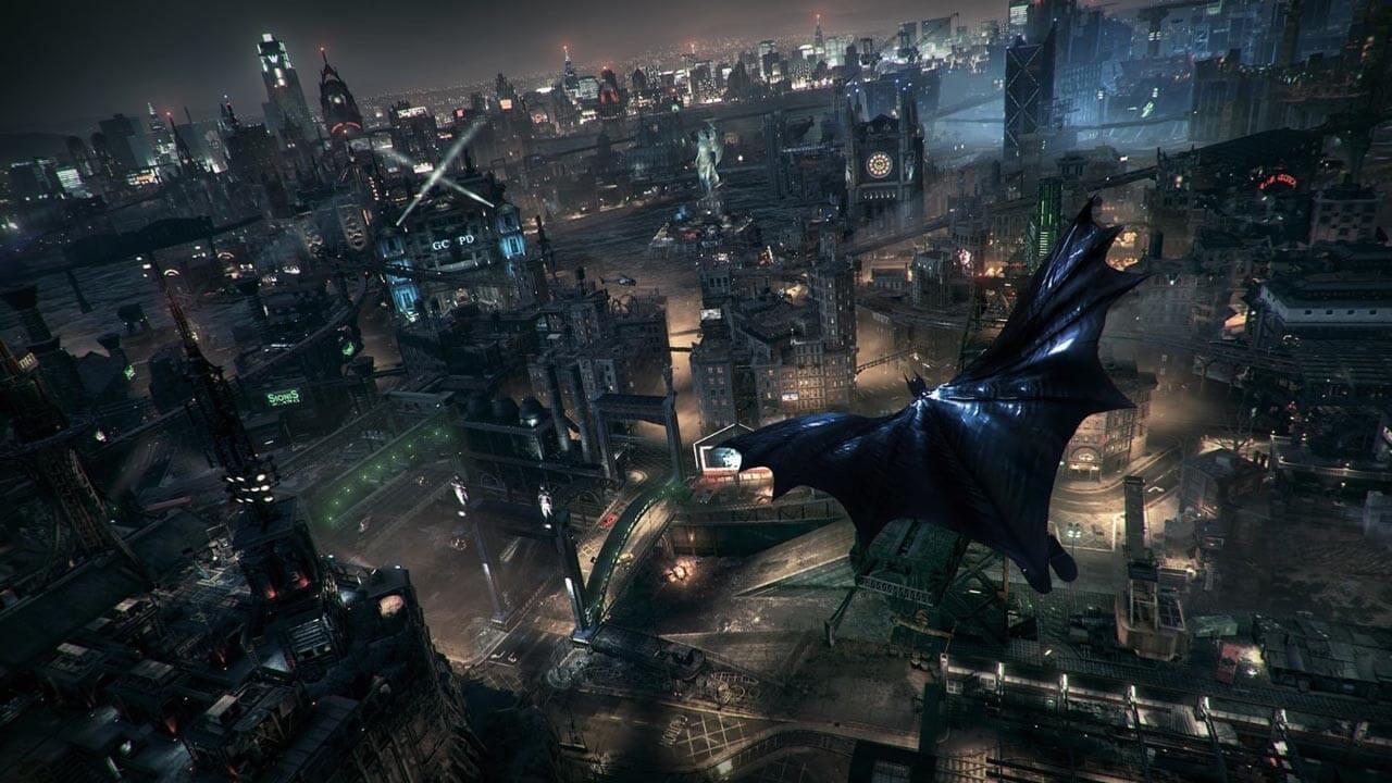 ゴッサム・シティを飛ぶバットマン。