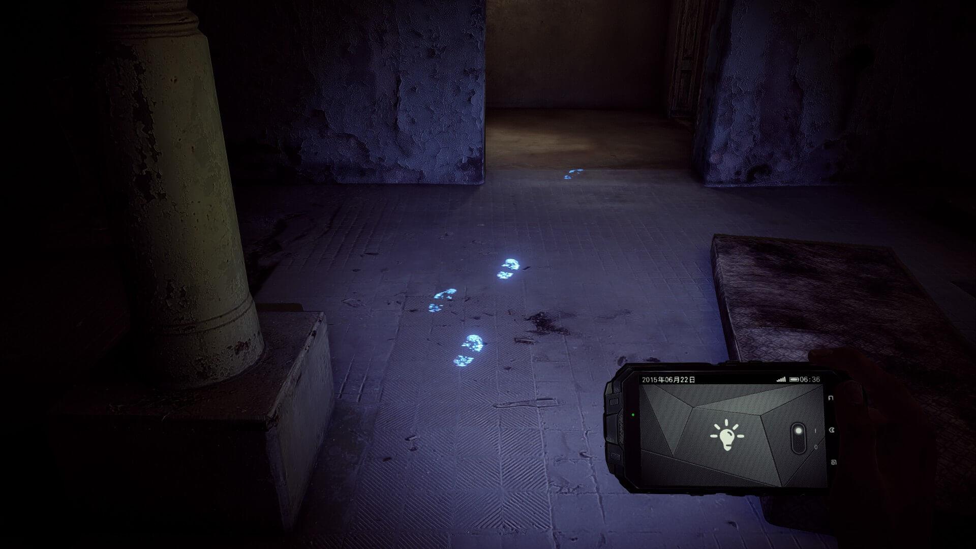 地面をライトで照らすと足跡が...
