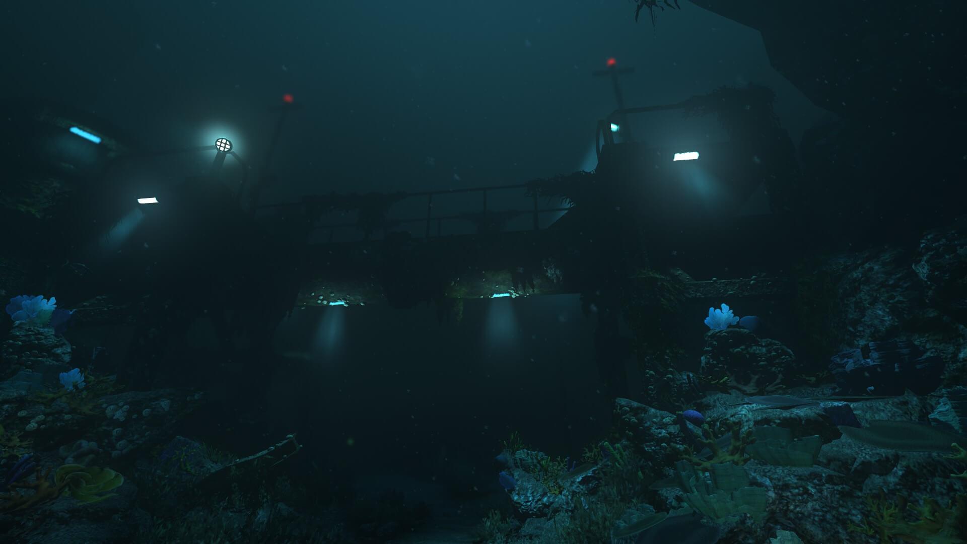 研究施設の外、要するに深海エリアを探索する/SOMAより。