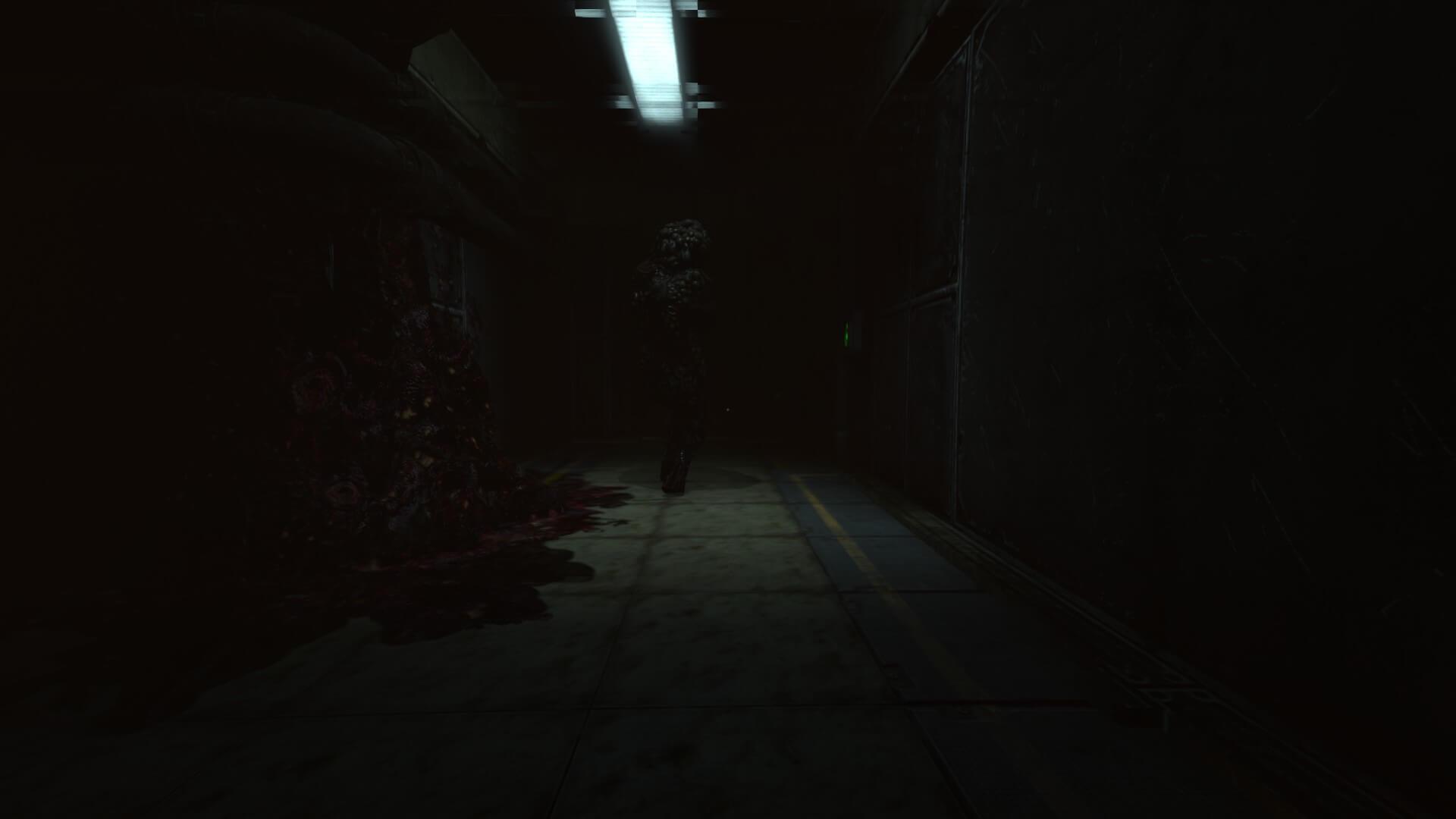 暗闇の中、クリーチャーの背後を進む/SOMAより。