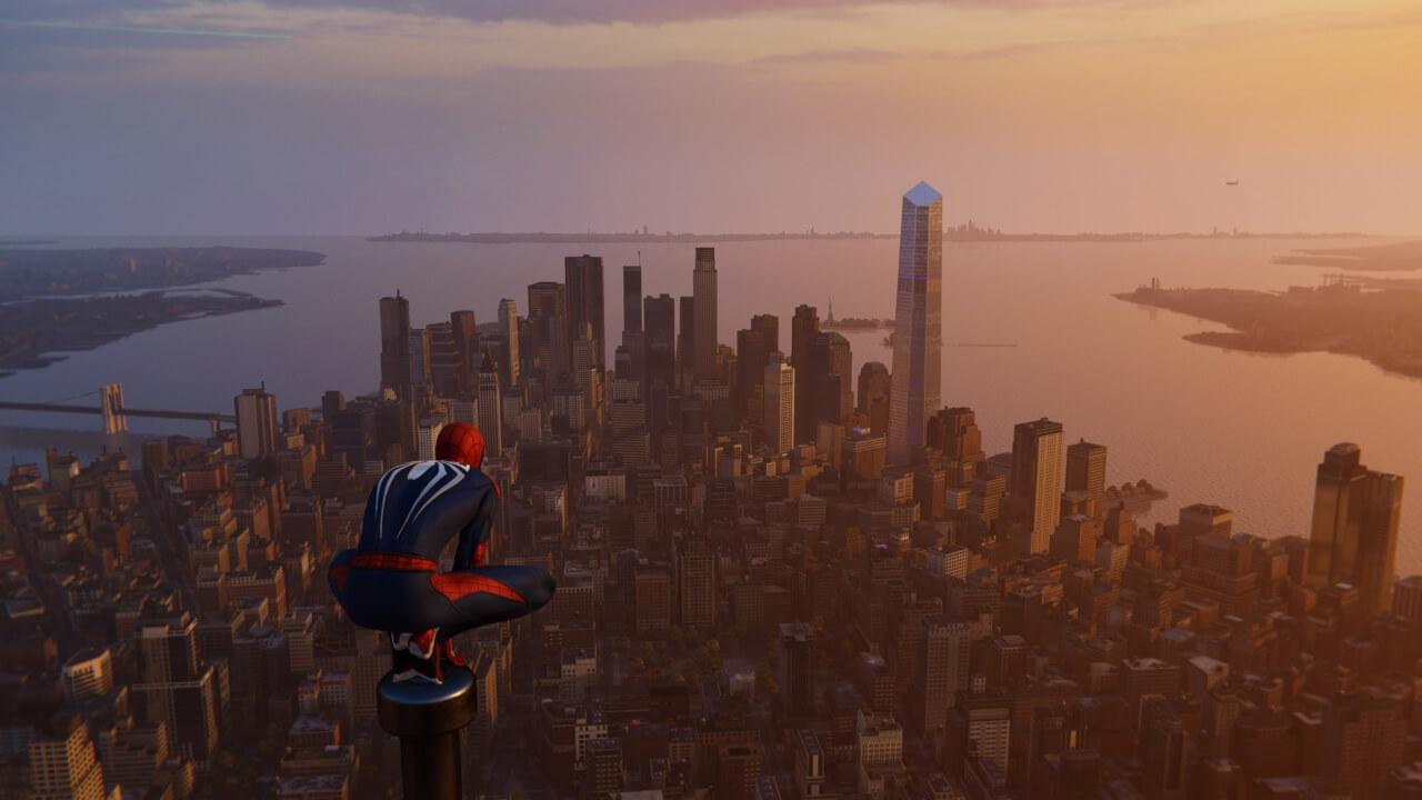 マンハッタンを一望。今作は地上エリアの作り込みも半端ではなく、ピーター・パーカーとして探索したかった。