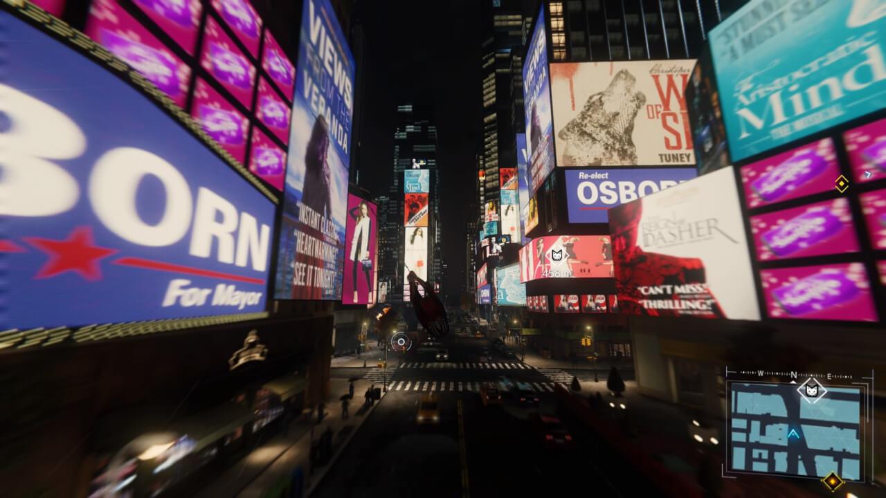 ゲーム内のタイムズ・スクエア。看板ではゲーム独自のブランドが紹介されており、リアルとフィクションが見事に融合している。