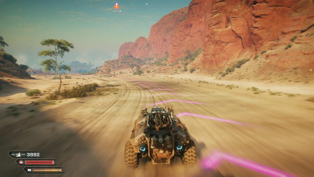 RAGE 2はオープンワールド化されており、ミッション間はマシンで移動する。
