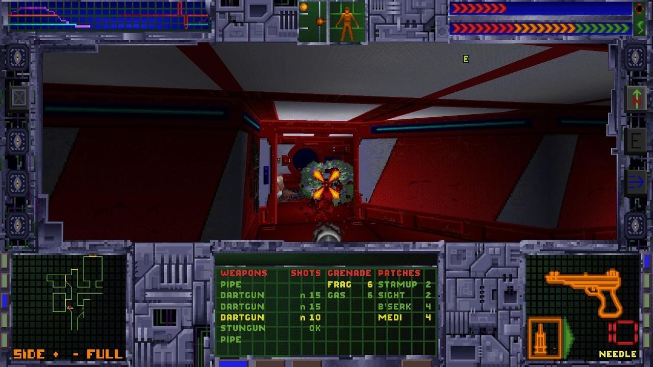 システムショックの戦闘画面。戦闘はFPS黎明期の作品っぽくDOOMらいく。